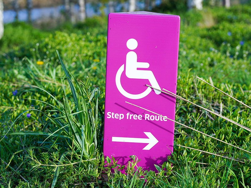 Studying Abroad with a disability. Image of Step Free Route Sign.