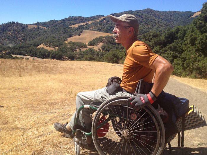 Bob Coomber training to cross the Sierra Nevada mountains in a wheelchair.