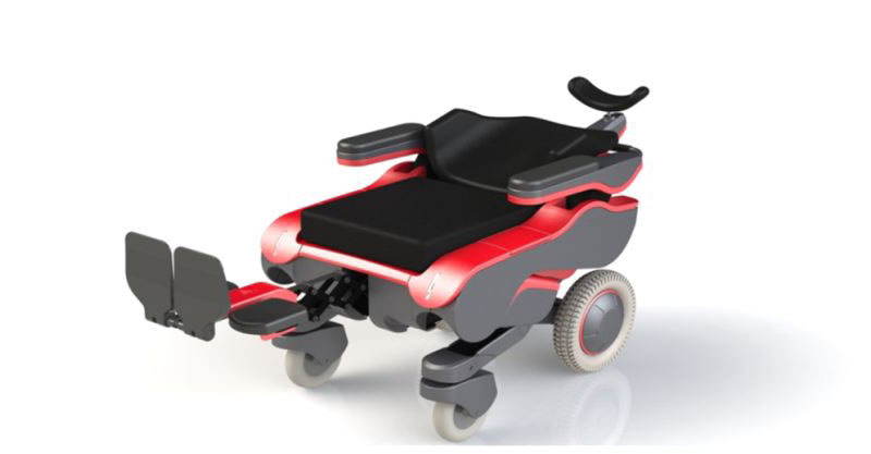Red CheelCare Xceed Power Wheelchair on a plain white background. The backrest is reclined and the footrest is elevated to create a flat surface. The chair has been lowered to meet the height of the transfer surface.