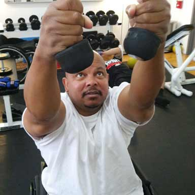 Exercise with disabilities.  Health and disability photo.