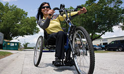 Hand Cycling: Image of adaptive cycling athlete.