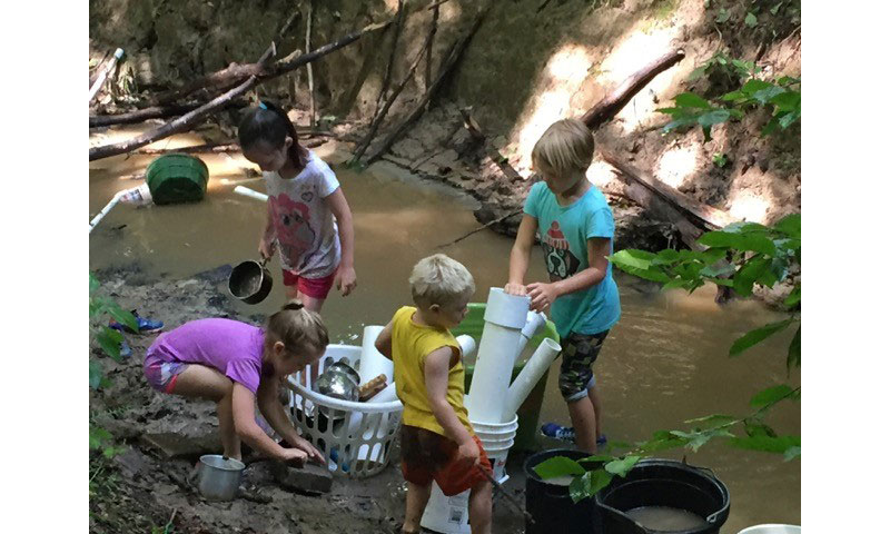 Outdoor play: playing in a creek