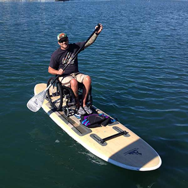 Paddling with a wheelchair.