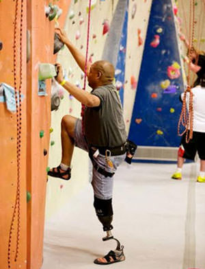 Climbing with a prosthetic leg