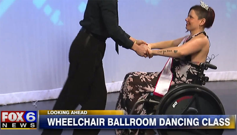 Ms Wheelchair Wisconsin, Autumn Nugent and her Rowheels prepare for Wisconsin's first ever dance mobility class, at the Fred Astaire Dance Studio of Brookfield, Wisconsin.