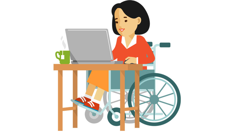 Universal Office Graphic: Female working at Desk