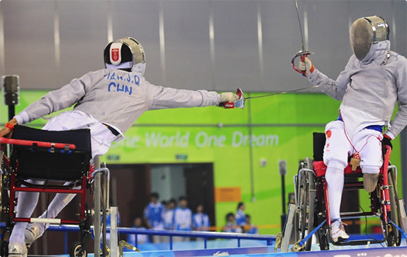 Wheelchair Fencers compete in the Paralympics.
